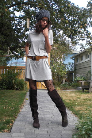 gray Alexander Wang dress - brown Steve Madden boots - brown vintage belt - blac