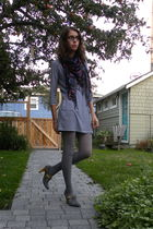 black pins and needles scarf - blue American Apparel dress - gray remix shoes