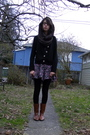 Purple-thrifted-black-h-m-tights-brown-maloles-boots-brown-american-appare