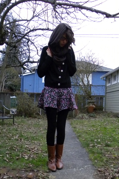 purple thrifted - black H&amp;M tights - brown Maloles boots - brown American Appare