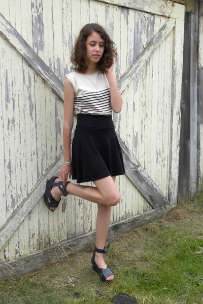 white BDG shirt - black American Apparel skirt - gray vivienne westwood shoes