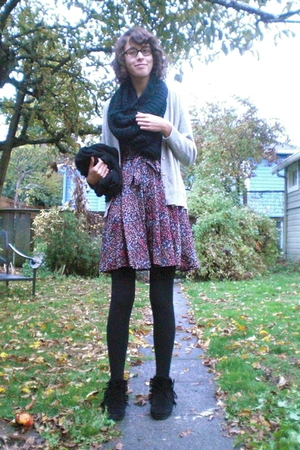 H&M scarf - thrift sweater - H&M dress - H&M tights