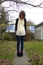White-shirt-black-cardigan-blue-bdg-jeans-red-socks-black-miss-me-shoes
