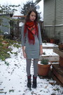 Ruby-red-vintage-scarf-heather-gray-h-m-dress-ruby-red-socks-black-dr-mart