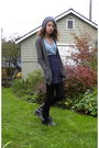 Gray-american-apparel-cardigan-blue-shirt-blue-american-apparel-skirt-blac