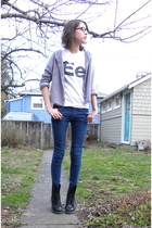 white American Apparel t-shirt - gray cardigan - blue BDG jeans - black Dr Marte