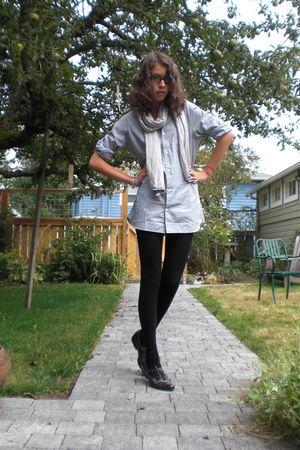 blue Muji shirt - white Muji scarf - black H&M tights - gray Pour La Victoire sh