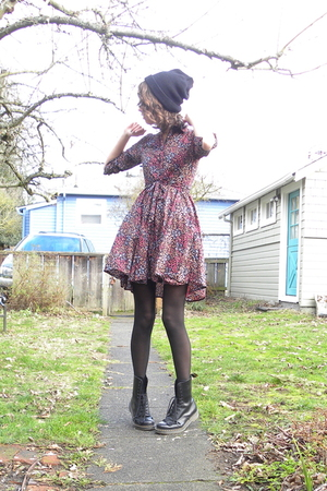 purple floral H&amp;M dress - black Dr Martens boots - black knit hat