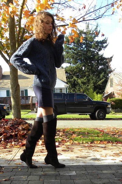 blue L L Bean sweater - navy American Apparel skirt - gray Nordstrom socks - dar