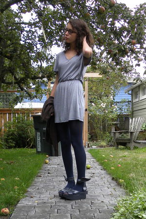 white Nordstrom BP dress - blue tights - gray vivienne westwood shoes - brown sw