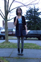 gray American Apparel skirt - silver DKNY tights - black Dr Martens boots