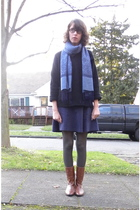 scarf - thrifted sweater - American Apparel skirt - H&M tights - Maloles boots