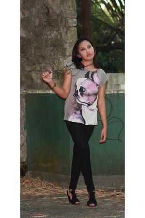 Zara blouse - Zara leggings - somewhere cheap accessories