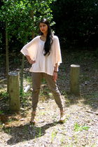 pink H&M blouse - beige Zara pants - beige Bakers shoes