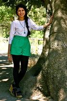 beige vintage t-shirt - green vintage shorts - blue Forever 21 pants - beige For