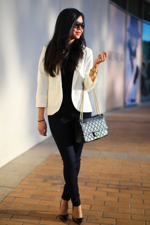 Topshop blazer - Rag and Bone jeans - Chanel bag - Kookai jumper