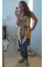 Green-forever-21-top-white-h-m-scarf-blue-loft-jeans-silver-bamboo-shoes-