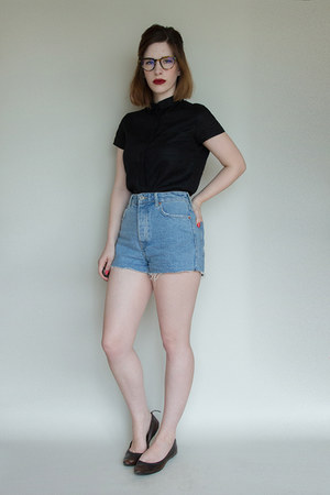 black Frye flats - blue Bershka shorts - black Muji top