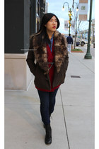 faux fur BB Dakota jacket - Steve Madden boots - jeans - shirt - cardigan