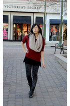 tan scarf - black boots - brick red shirt - dark gray pants