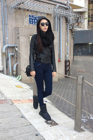 black Underground jacket - dark gray Emu boots - navy Stradivarius leggings