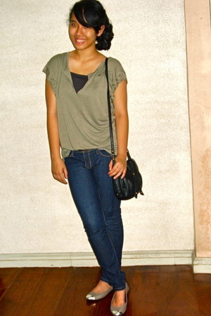 green Forever21 - Forever21 jeans - brown Zara - gray Suelas shoes - black Mango