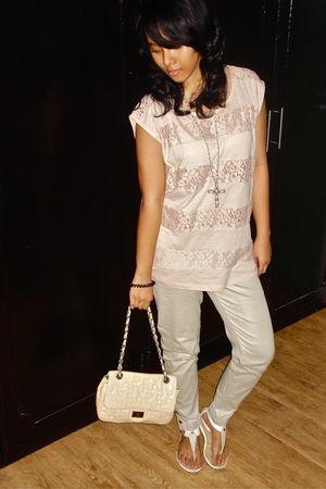 pink Forever21 top - Just G pants - Forever21 necklace - beige Details bag - whi
