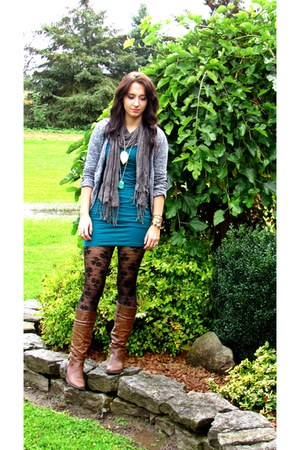 leather Sirens boots - jearsey Forever 21 dress - lace H&amp;M tights