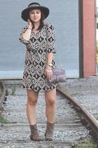 wide brim hat Halogen hat - booties Zara boots - Peppermint dress