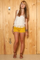 yellow JCrew shorts - white Urban Outfitters top - light brown American Eagle sa
