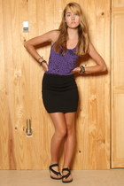 purple Fox top - black Urban Outfitters skirt - black Birkenstock sandals