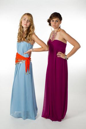 light blue dress - carrot orange belt - black Journeys sandals