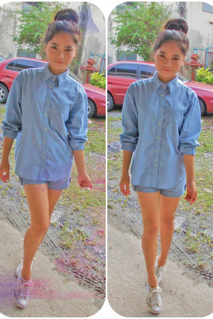 denim shirt Onlife top - denim shorts American Apparel shorts