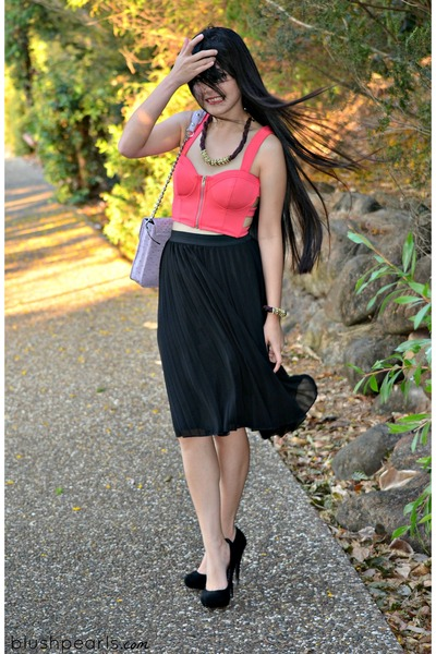 coral cropped Ally vest - BCBG bag - black pleated Ally skirt