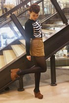 Urban Outfitters wedges - Forever 21 skirt - H&M jumper - Miss Selfridge belt