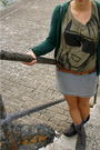 Green-zara-cardigan-gray-h-m-skirt-brown-vintage-belt-gray-vintage-boots-