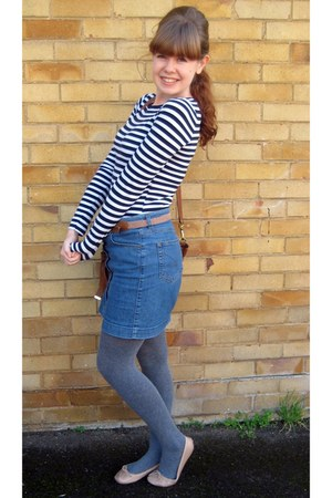 striped Primark top - Primark tights - Mulberry bag - denim Topshop skirt
