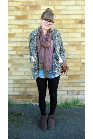 leopard print Zara coat - mini Ugg boots - gift scarf - Topshop shorts