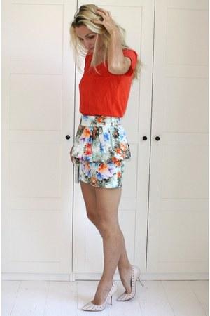 Zara shirt - vintage bag - Zara skirt - Zara heels