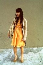 gold secondhand Anthropologie dress - camel knitted eyelet Old Navy sweater - go