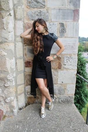 marble Melody Ehsani earrings - gold romwe shoes - leather Camaïeu dress
