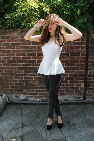 H&M jeans - romwe hat - H&M heels - H&M top