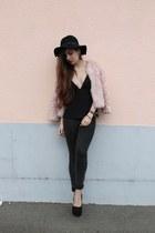 Zara top - romwe hat - H&M pants - faux fur H&M vest - H&M heels