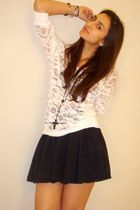 white Forever21 top - black Forever21 necklace - black H&M skirt
