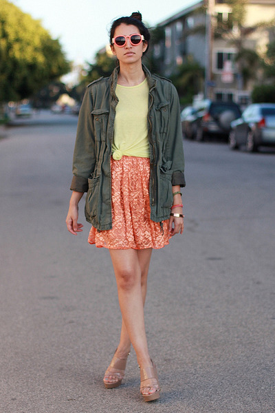 orange American Apparel dress - olive green H&M jacket
