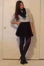 Gray-express-dress-black-h-m-skirt-blue-express-scarf-blue-express-tights-