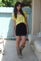 Express t-shirt - H&M skirt - vintage boots
