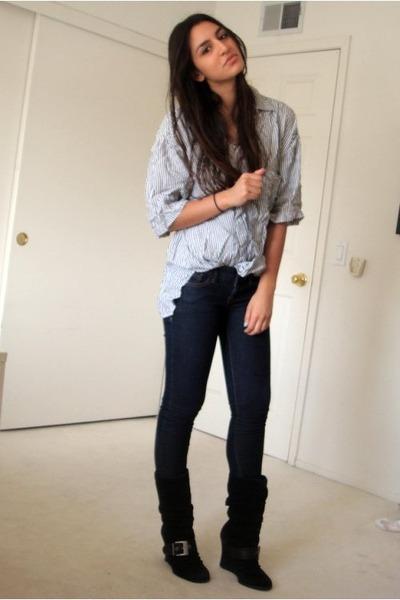 blue vintage union bay shirt - blue Express jeans - black Dr Scholls boots