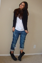 black Express cardigan - white forevr21 top - blue Express jeans - black Steve M