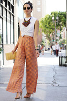 orange Zara pants - tan vintage bag - nude Zara sandals - red Zara necklace